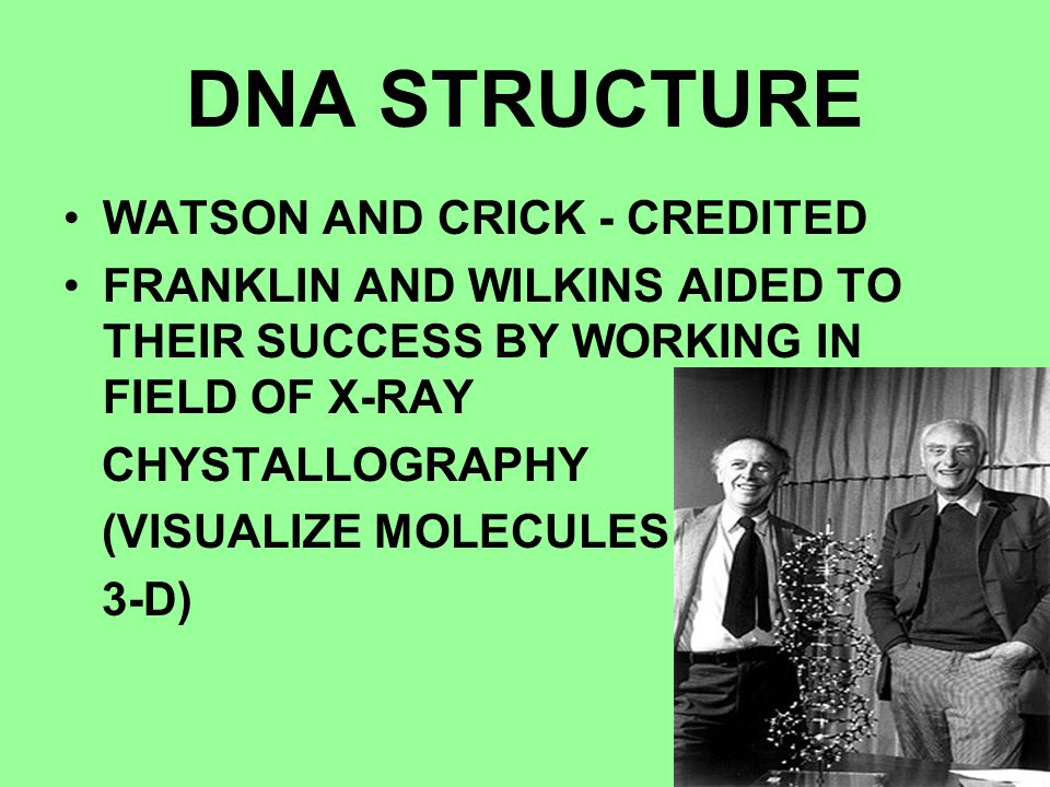 DNA STRUCTURE WATSON AND CRICK - CREDITED