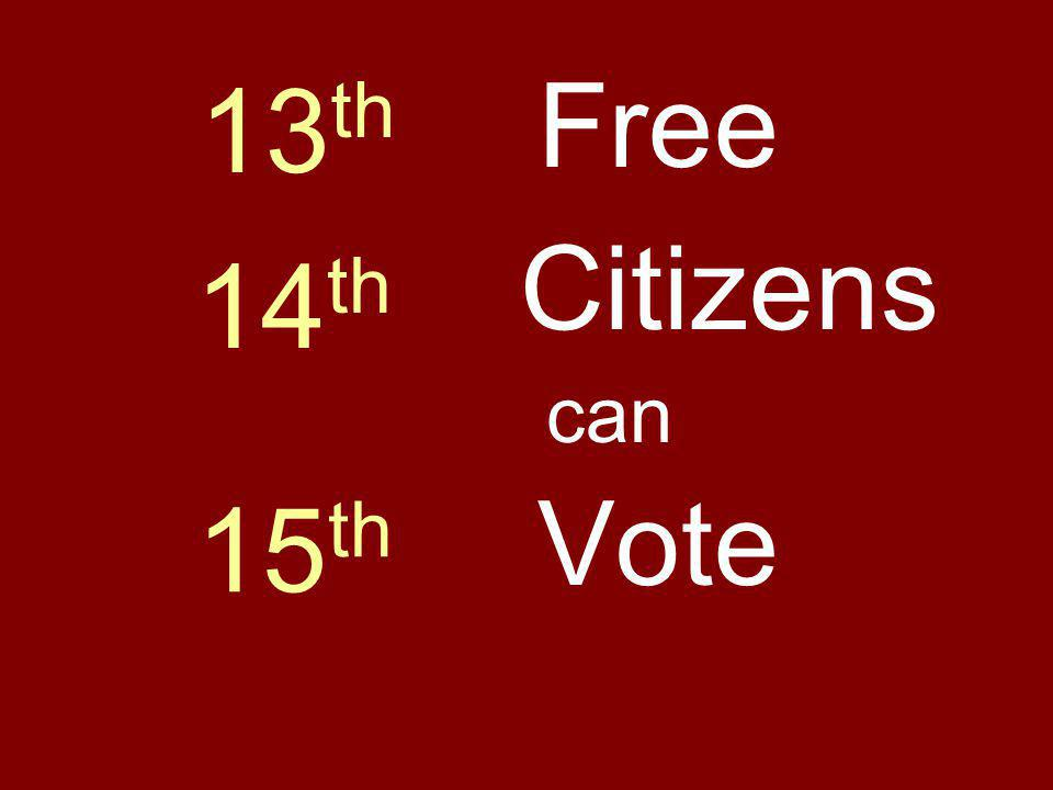 13th Free Citizens 14th can Vote 15th