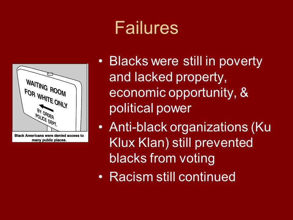 Failures Blacks were still in poverty and lacked property, economic opportunity, & political power.