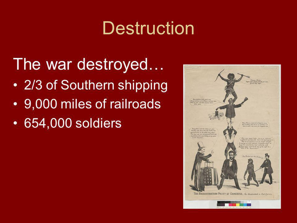 Destruction The war destroyed… 2/3 of Southern shipping