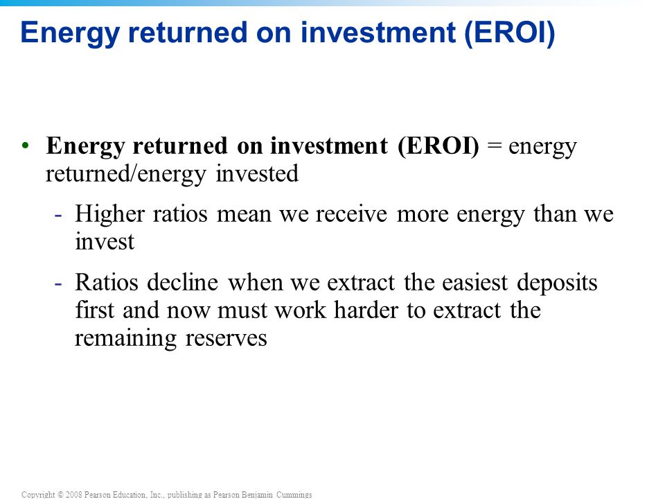 Energy returned on investment (EROI)