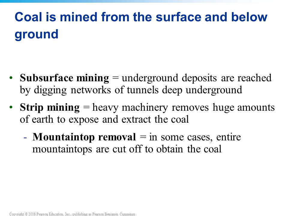 Coal is mined from the surface and below ground
