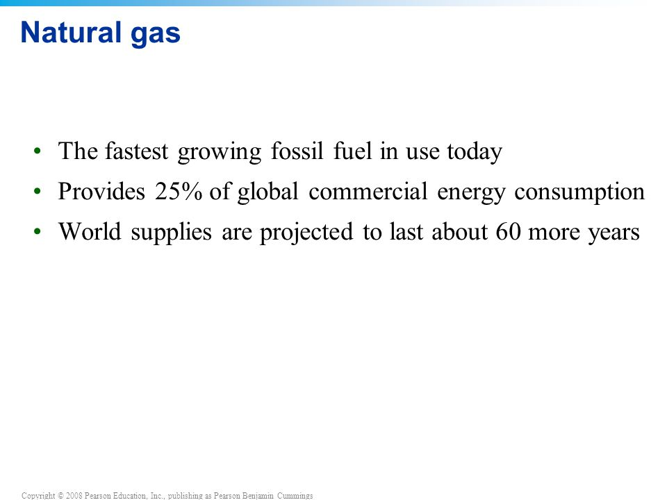 Natural gas The fastest growing fossil fuel in use today