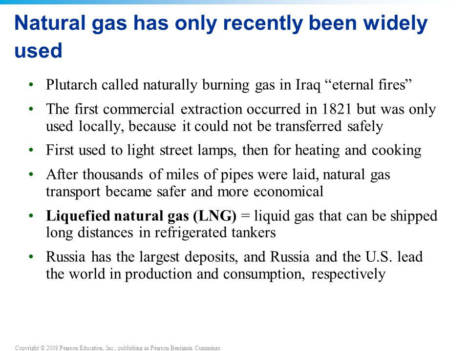 Natural gas has only recently been widely used