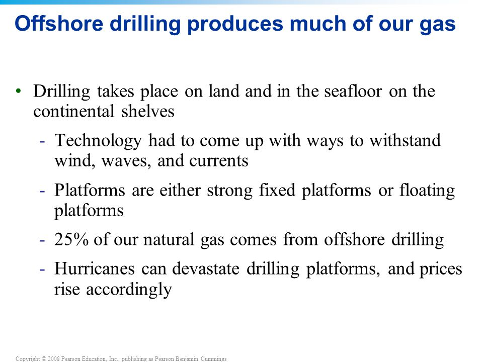 Offshore drilling produces much of our gas