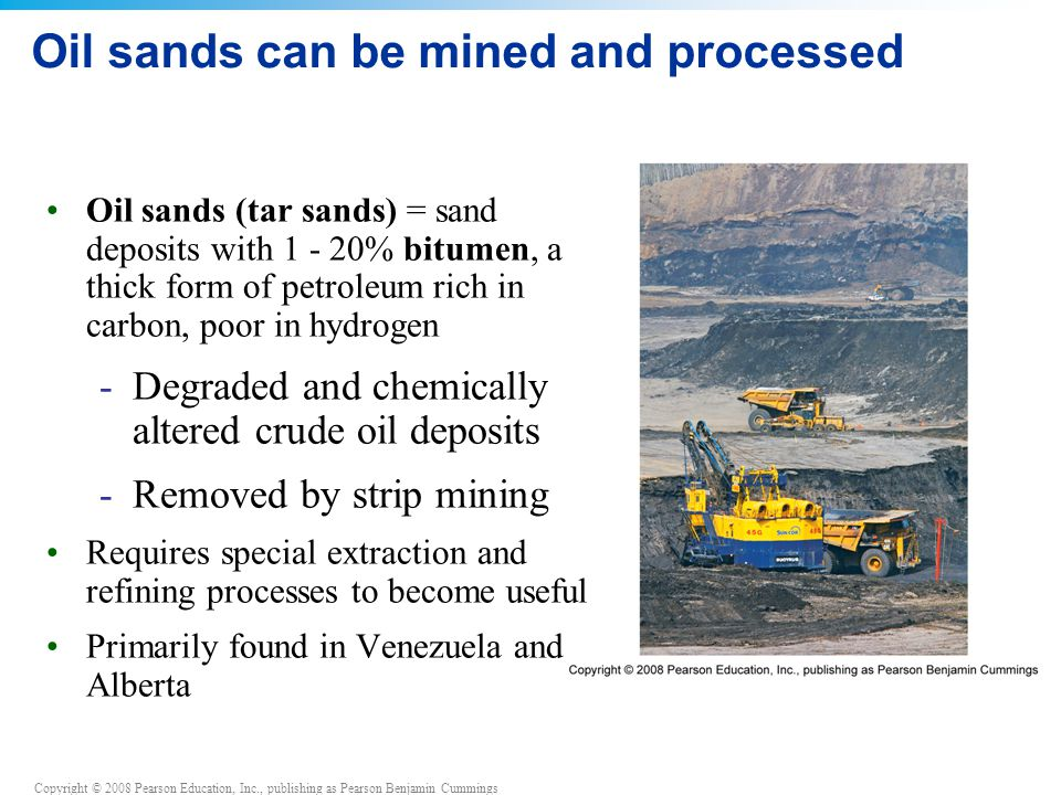 Oil sands can be mined and processed
