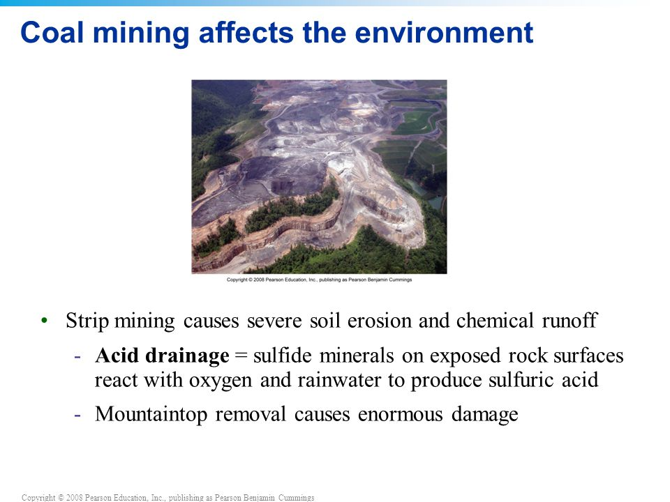 Coal mining affects the environment