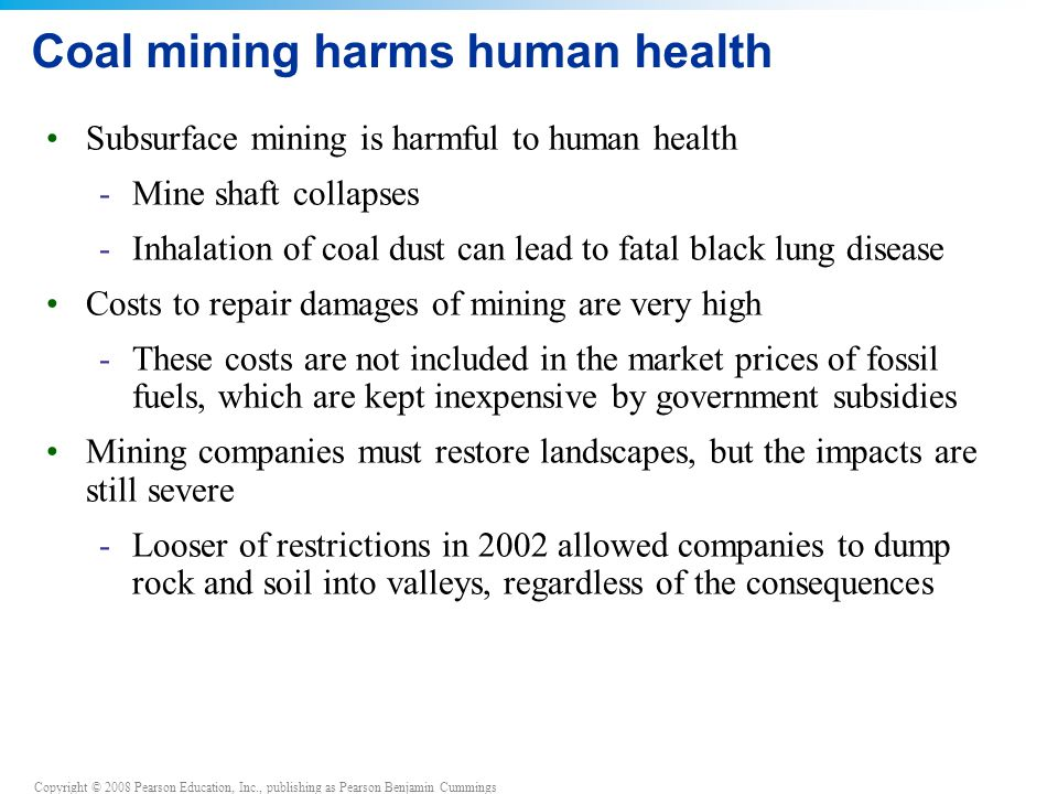 Coal mining harms human health