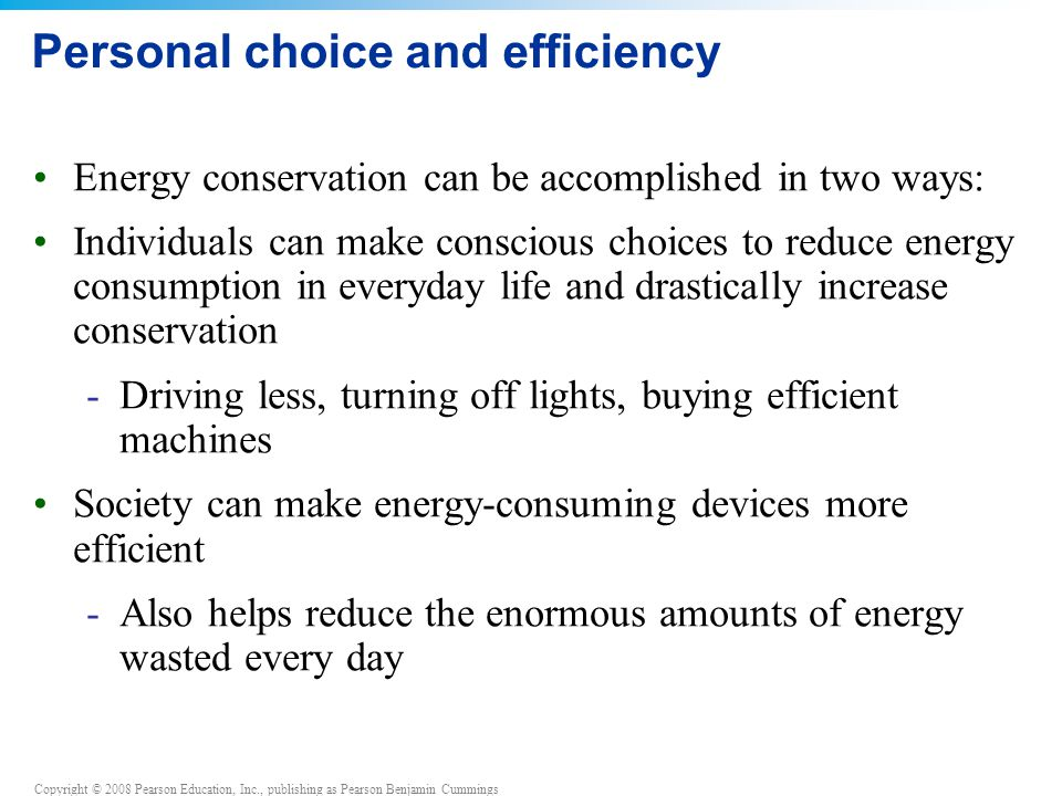 Personal choice and efficiency