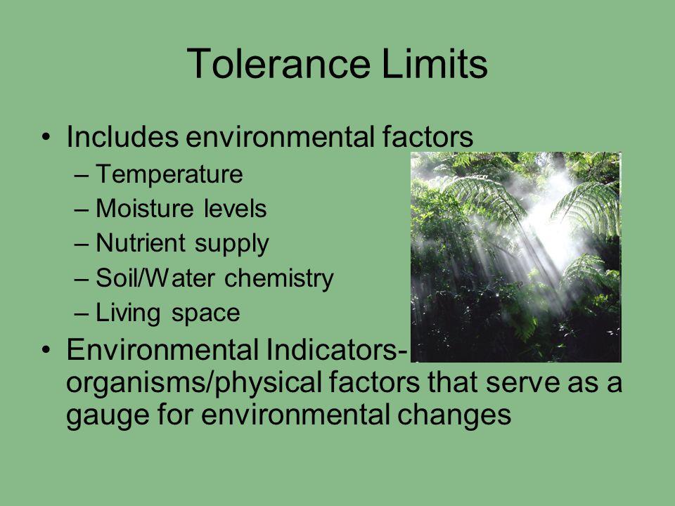 Tolerance Limits Includes environmental factors