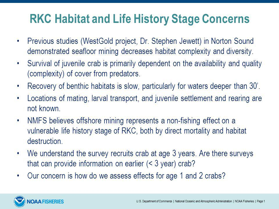 RKC Habitat and Life History Stage Concerns