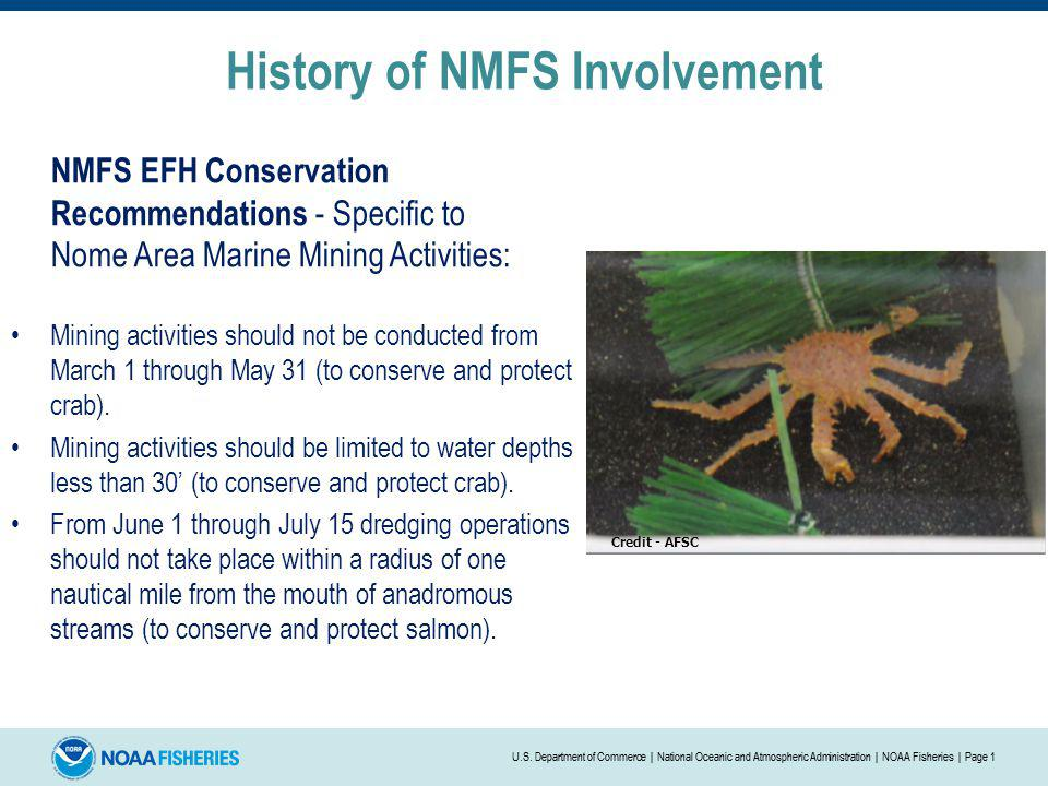 History of NMFS Involvement