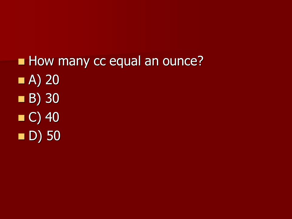 How many cc equal an ounce