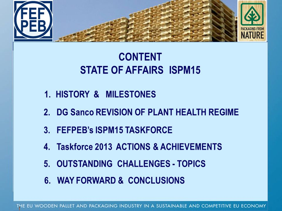 CONTENT STATE OF AFFAIRS ISPM15