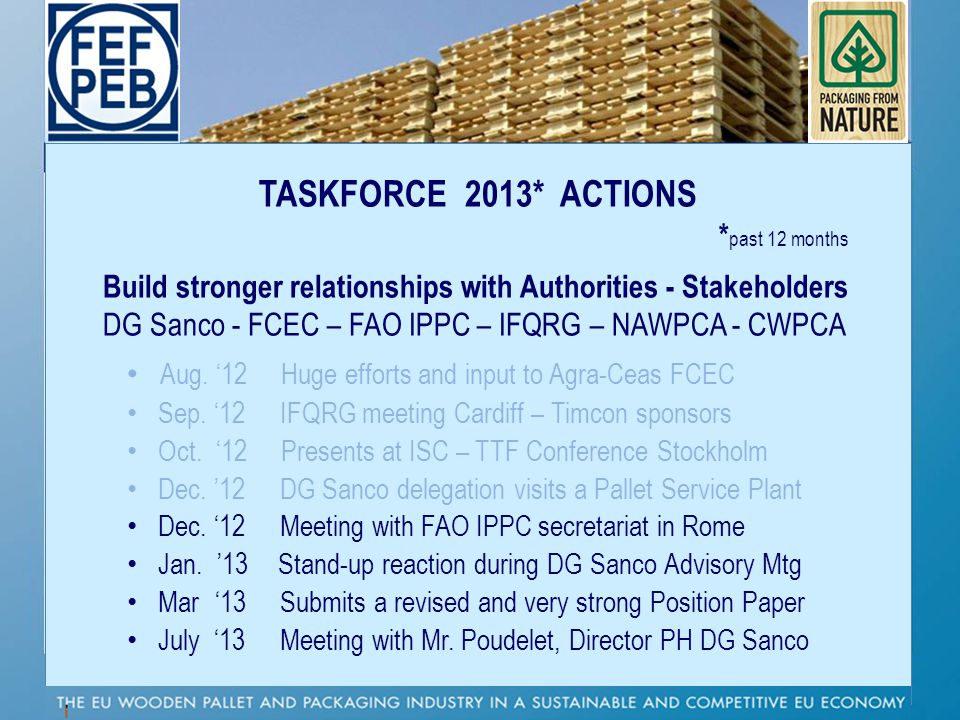 TASKFORCE 2013* ACTIONS *past 12 months. Build stronger relationships with Authorities - Stakeholders.