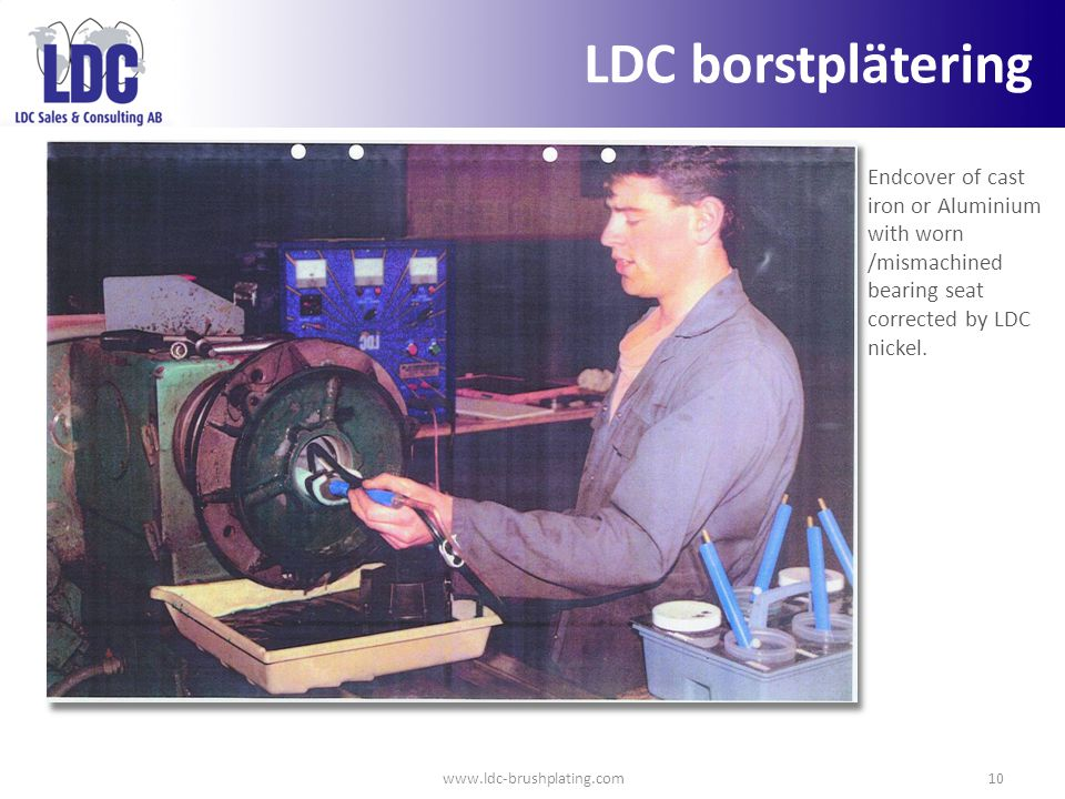 LDC borstplätering Endcover of cast iron or Aluminium with worn /mismachined bearing seat corrected by LDC nickel.