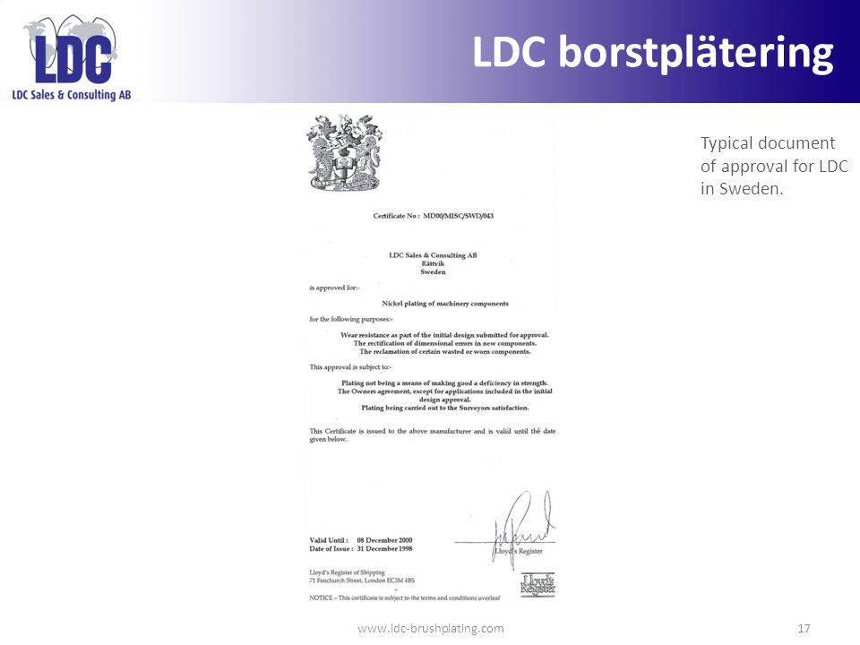 LDC borstplätering Typical document of approval for LDC in Sweden.