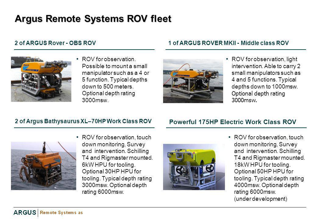 Argus Remote Systems ROV fleet