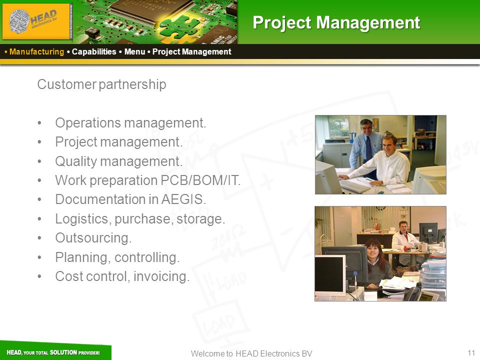 Project Management Customer partnership Operations management.