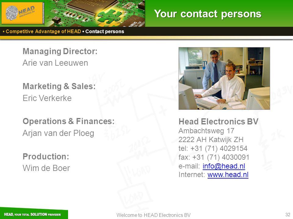 Your contact persons Managing Director: Arie van Leeuwen