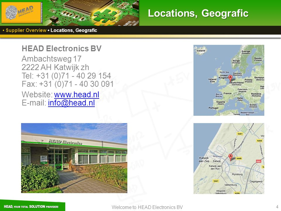 Locations, Geografic HEAD Electronics BV