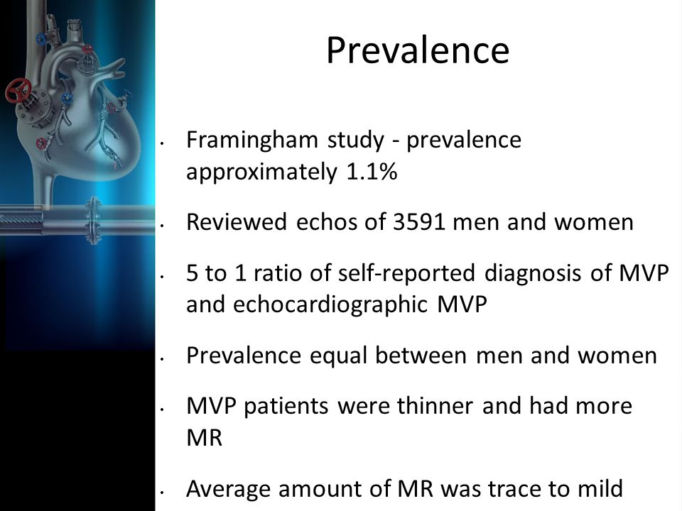 Prevalence Framingham study - prevalence approximately 1.1%