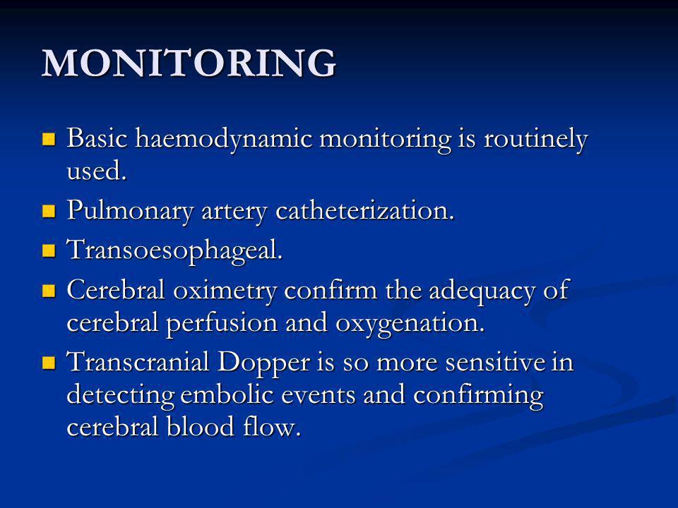MONITORING Basic haemodynamic monitoring is routinely used.