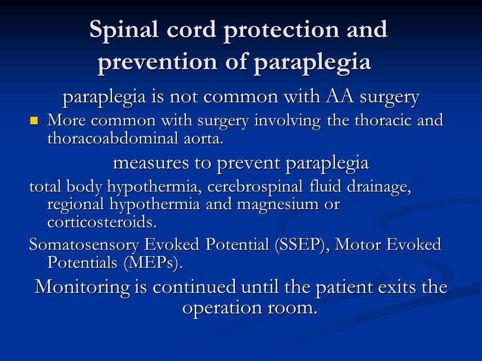 Spinal cord protection and prevention of paraplegia