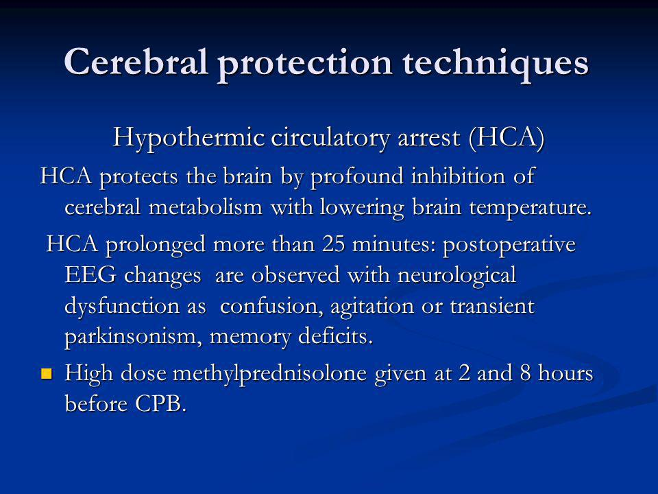 Cerebral protection techniques
