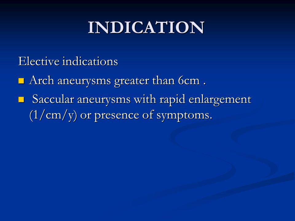 INDICATION Elective indications Arch aneurysms greater than 6cm .