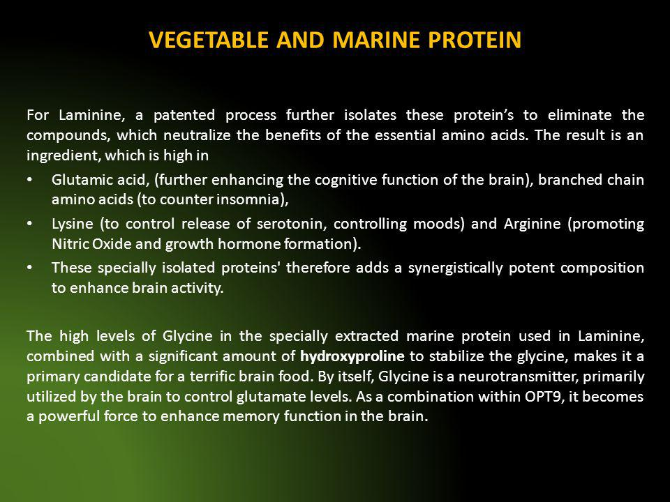 VEGETABLE AND MARINE PROTEIN