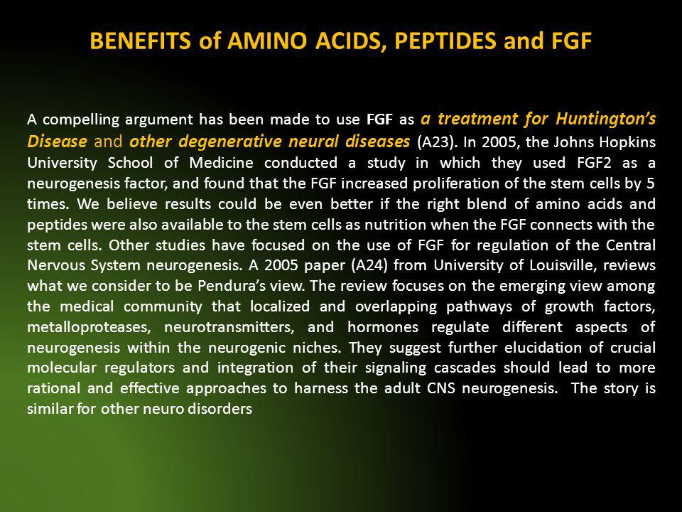 BENEFITS of AMINO ACIDS, PEPTIDES and FGF