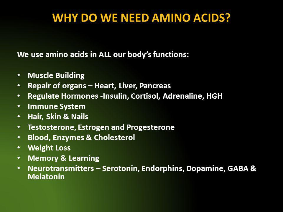 WHY DO WE NEED AMINO ACIDS