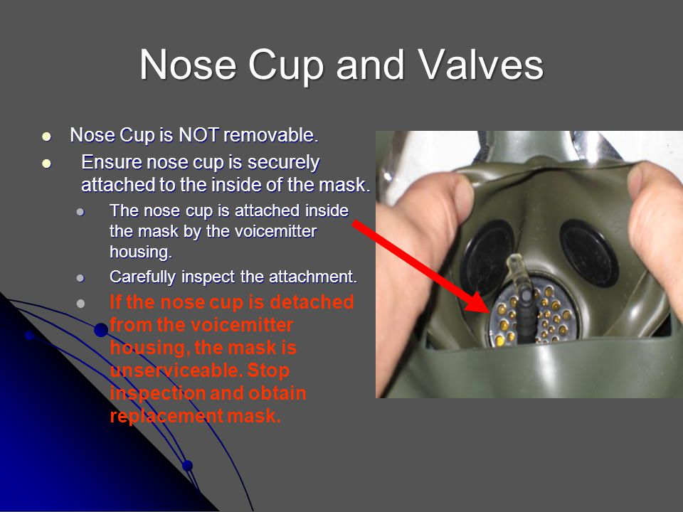 Nose Cup and Valves Nose Cup is NOT removable.
