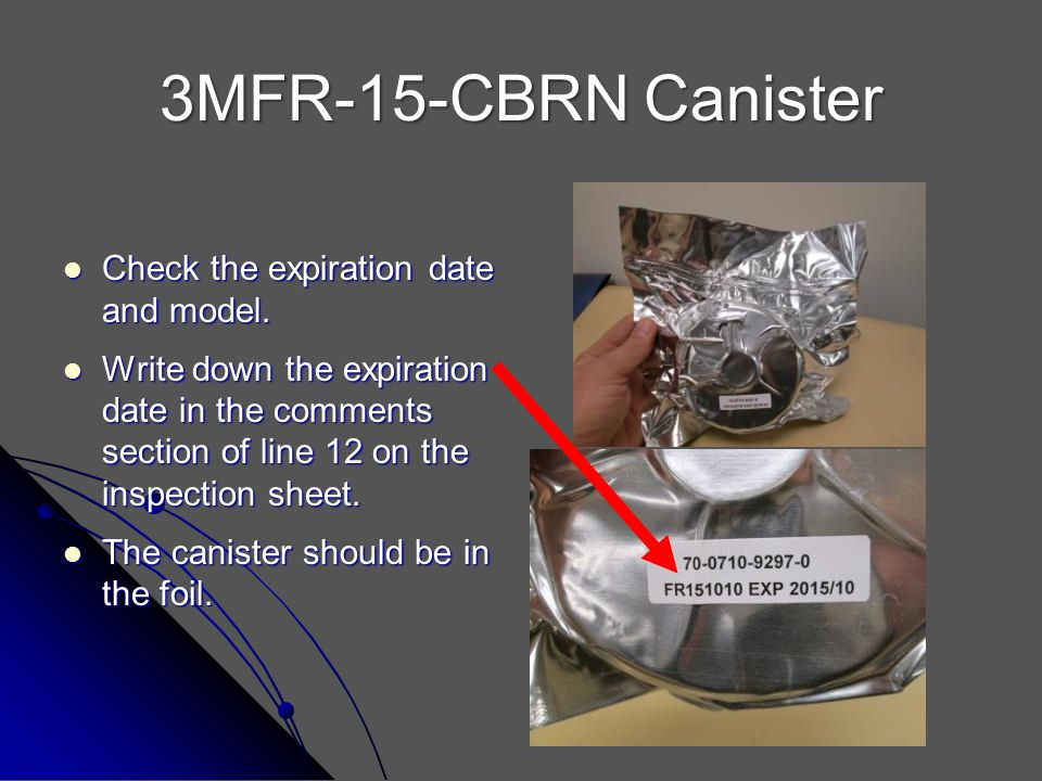 3MFR-15-CBRN Canister Check the expiration date and model.