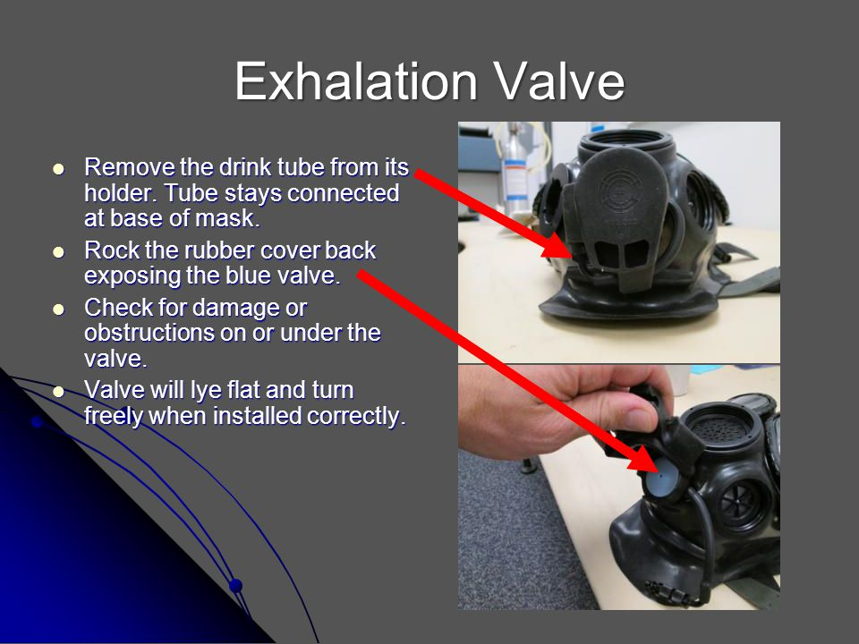 Exhalation Valve Remove the drink tube from its holder. Tube stays connected at base of mask. Rock the rubber cover back exposing the blue valve.