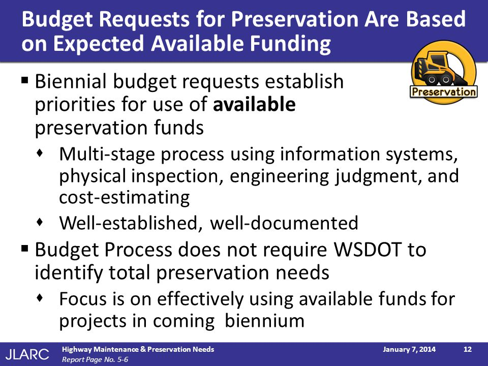 Budget Requests for Preservation Are Based on Expected Available Funding