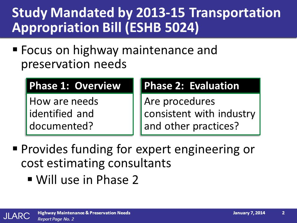 Study Mandated by 2013-15 Transportation Appropriation Bill (ESHB 5024)