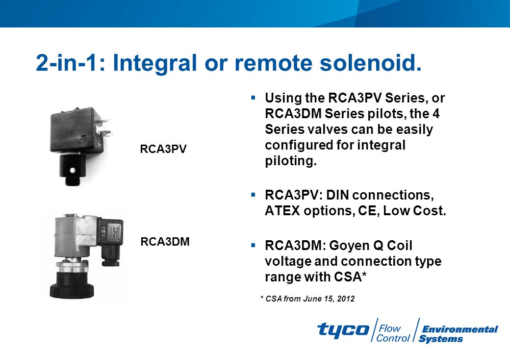 2-in-1: Integral or remote solenoid.