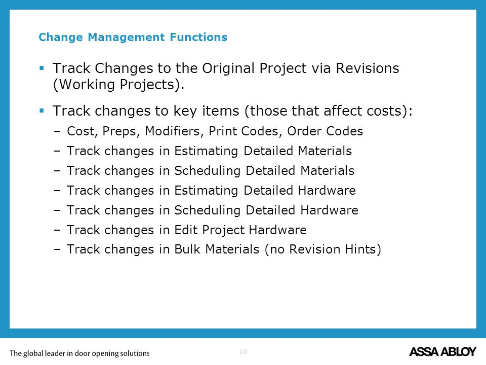 Change Management Functions
