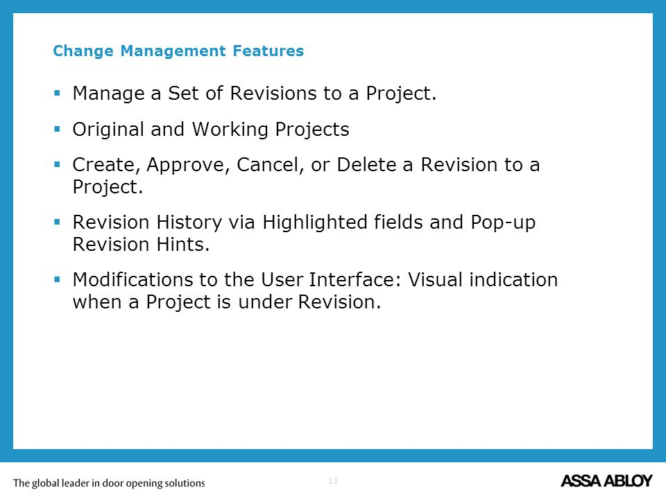 Change Management Features