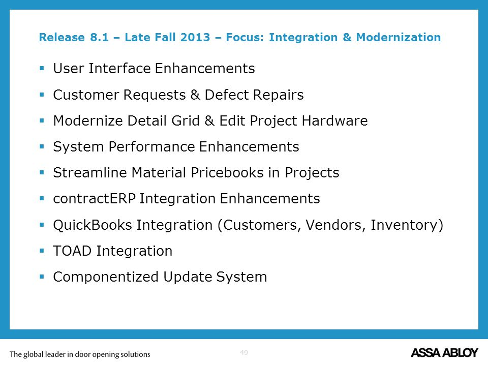 Release 8.1 – Late Fall 2013 – Focus: Integration & Modernization