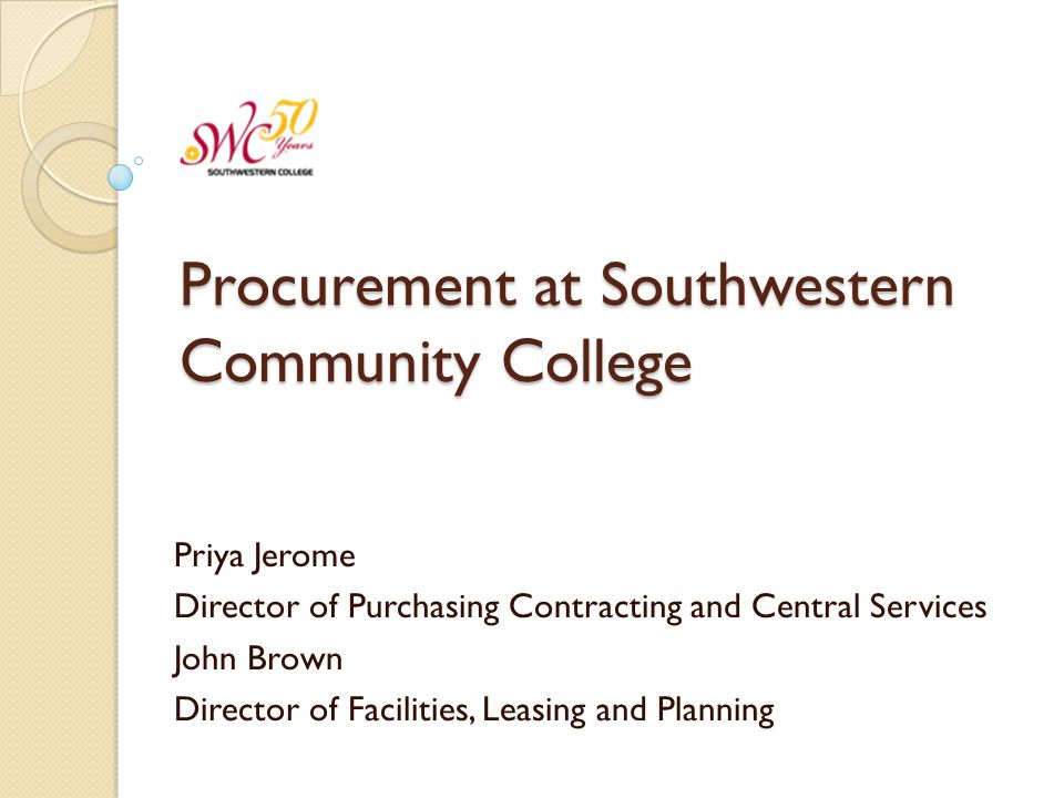 Procurement at Southwestern Community College