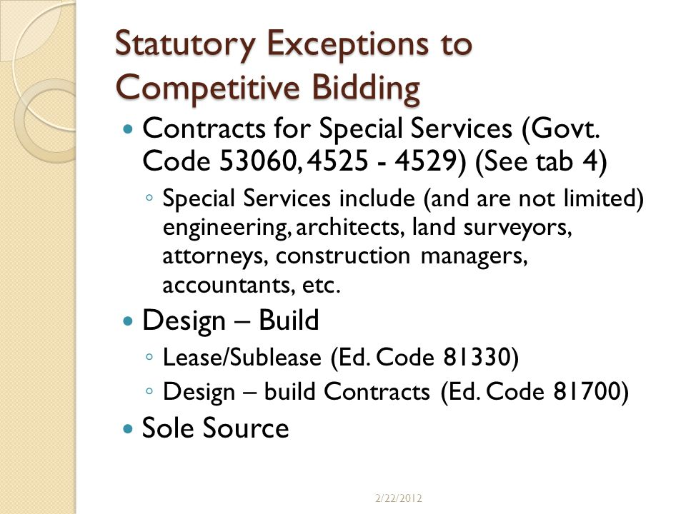 Statutory Exceptions to Competitive Bidding