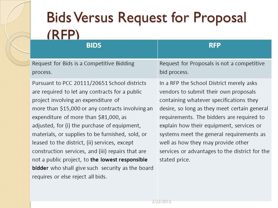 Bids Versus Request for Proposal (RFP)