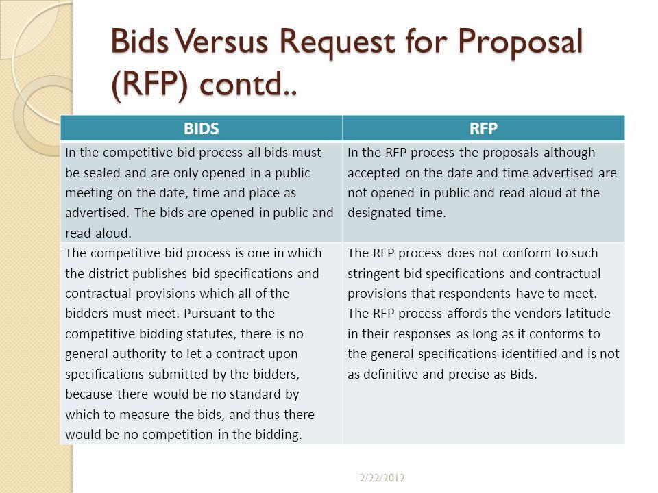Bids Versus Request for Proposal (RFP) contd..