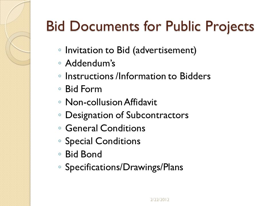 Bid Documents for Public Projects