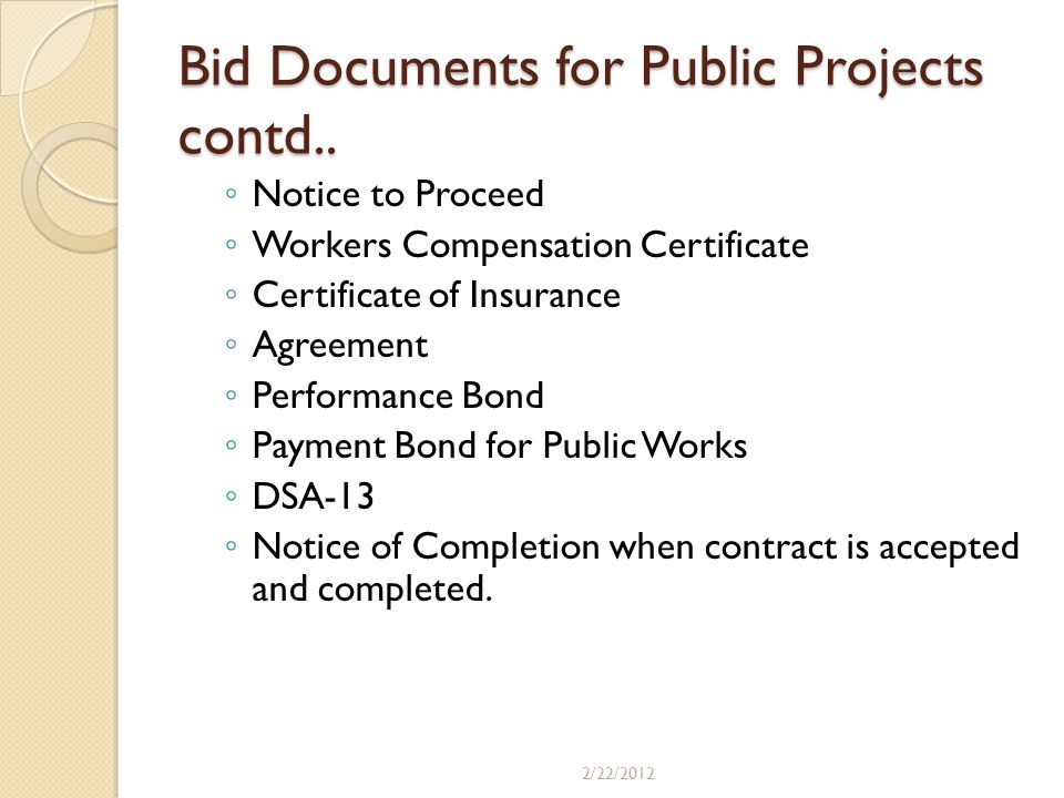 Bid Documents for Public Projects contd..