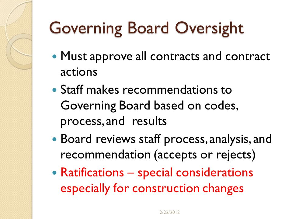Governing Board Oversight