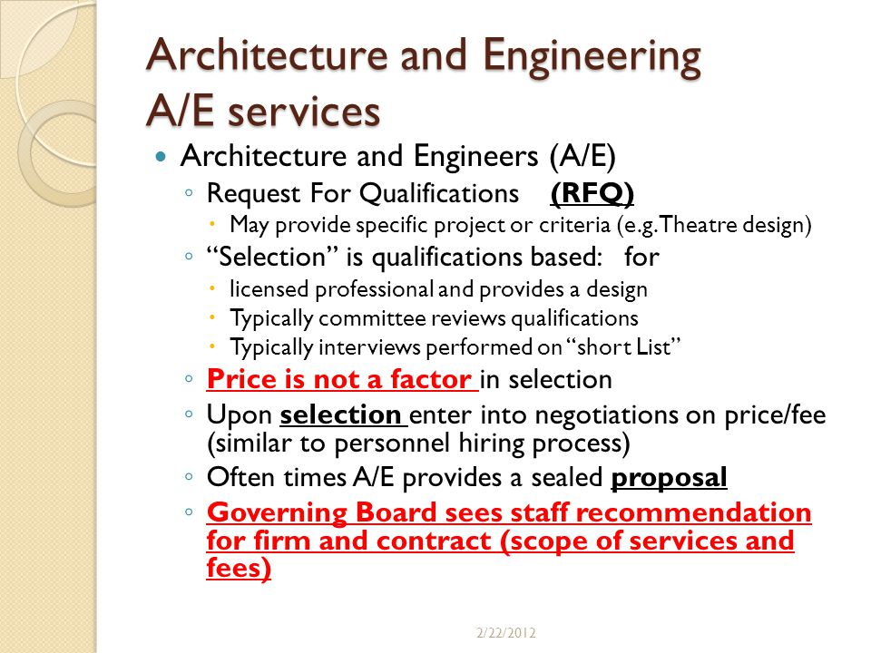 Architecture and Engineering A/E services